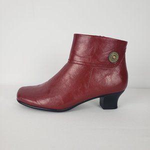 Alia Red Vegan Leather Booties Size 9
